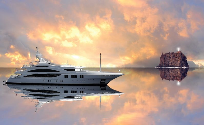 luxury yacht in sea