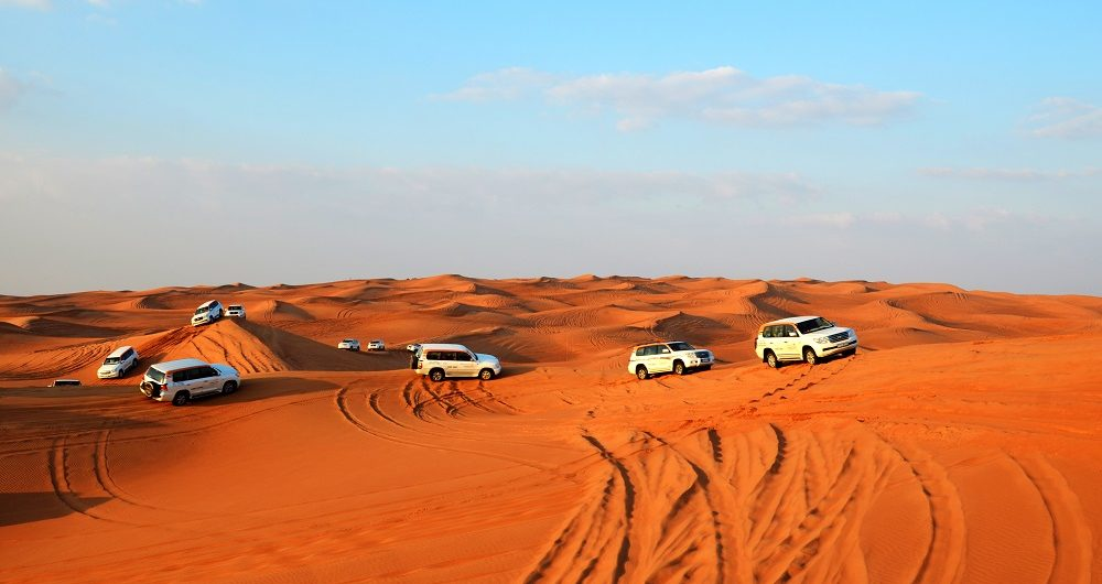 Land Rovers in desert