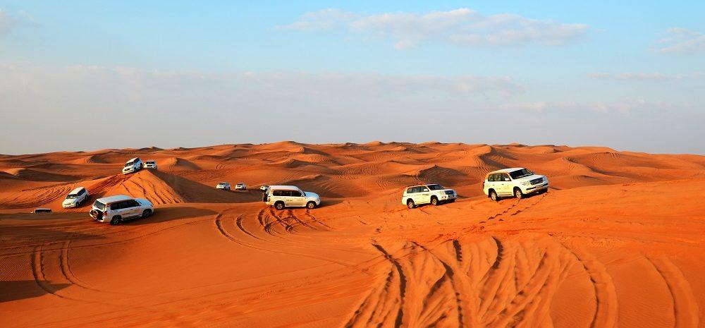 Land Rovers in desert