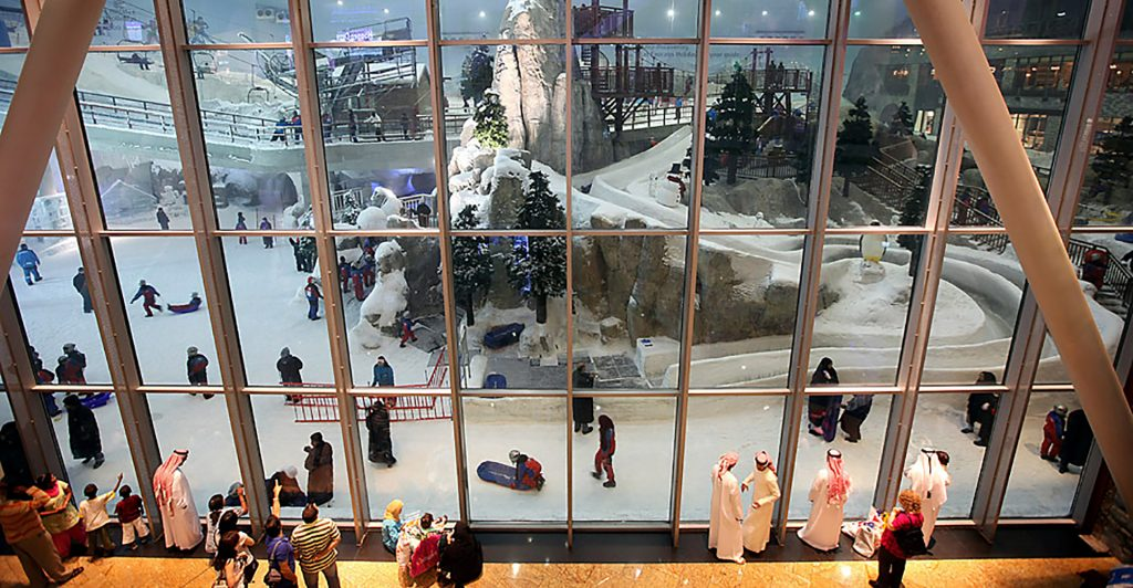 View of Ski Dubai from food court