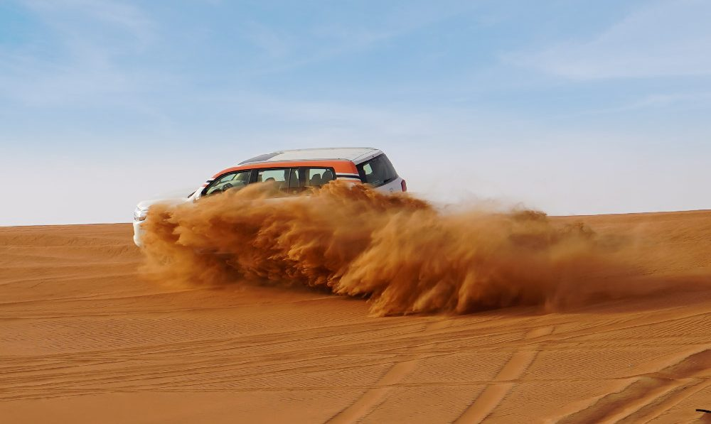 desert safari under blue sky