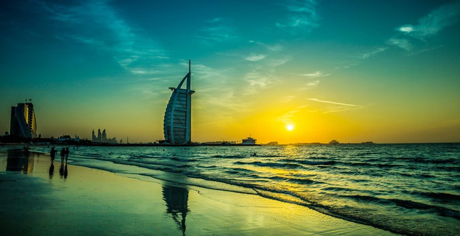 View of Burj Al Arab from beach