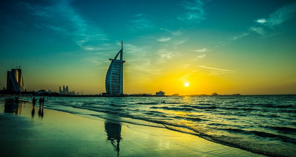 View of Burj Al Arab from beach