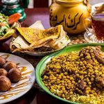 The traditional food of UAE on a table