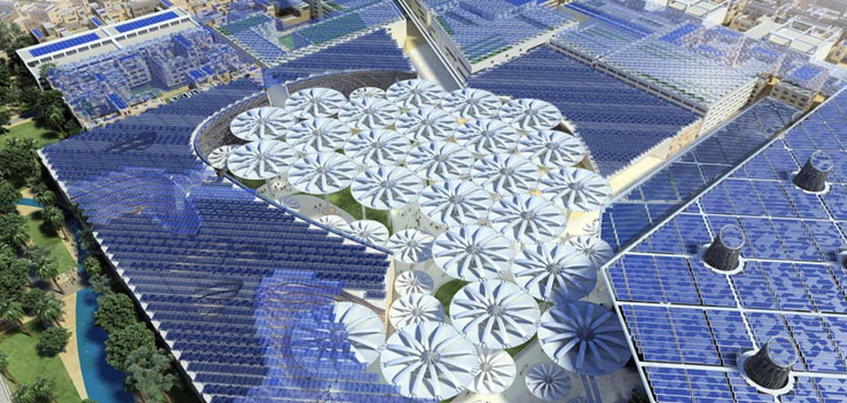 Solar roofs of Masdar city