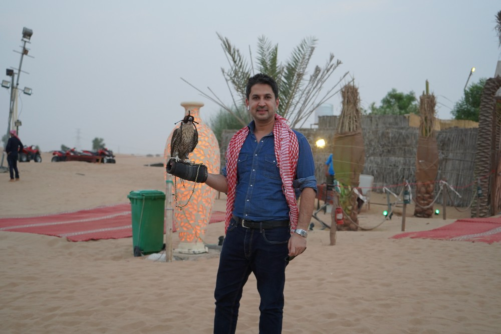 A picture with the national bird of UAE (Falcon)