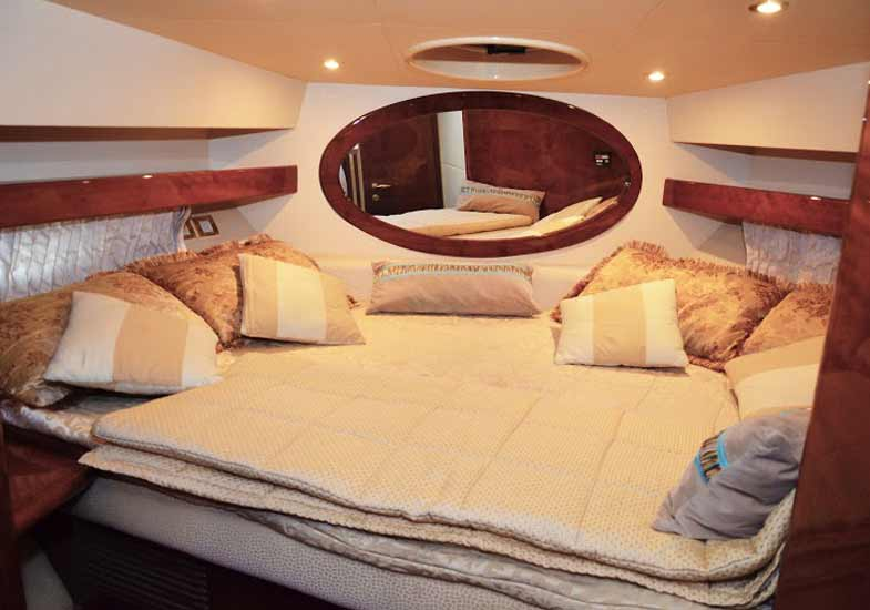Luxurious master bedroom of the 42 feet yacht