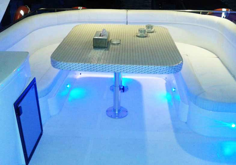Enjoy the view on a well-lit and spacious flybridge