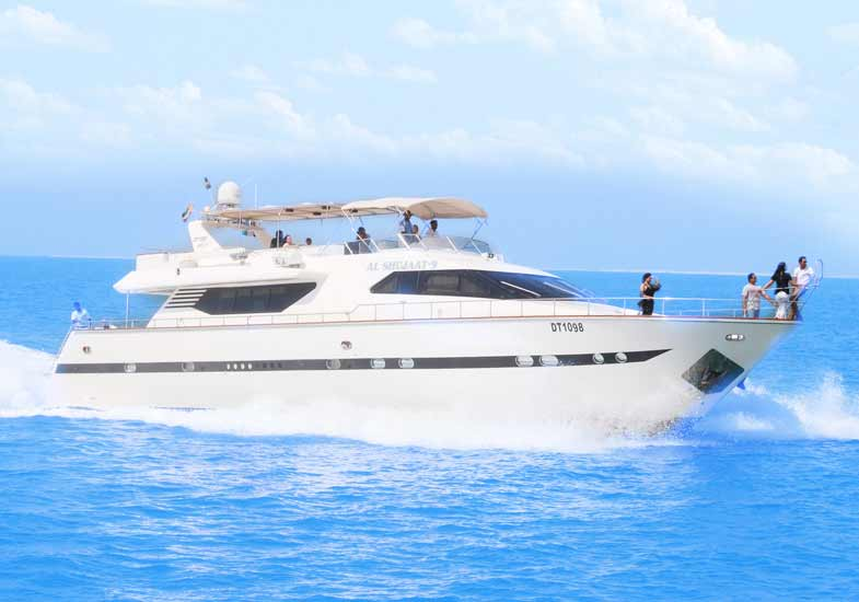 The 85 feet luxury yacht cruising through the waters of Marina