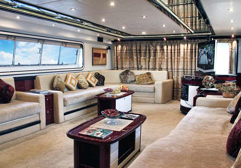 The ambiance of the 85 feet yacht's saloon area