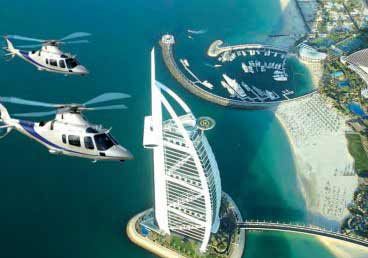 Breathtaking view of the iconic structures Burj Al Arab and Burj Khalifa from the sky