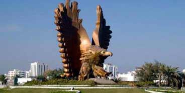 Golden Falcon statue in Fujairah UAE