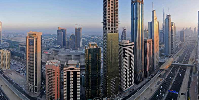 Looking at the busiest road of Dubai, the Sheikh Zahid Road