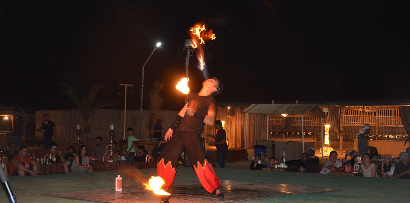Fire Show at Desert Campsite